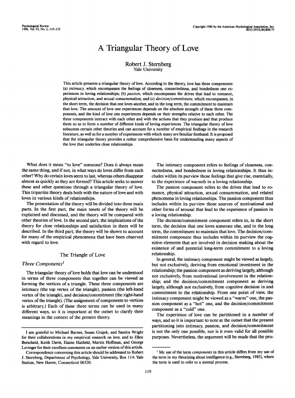 The triangular theory of love robert sternberg