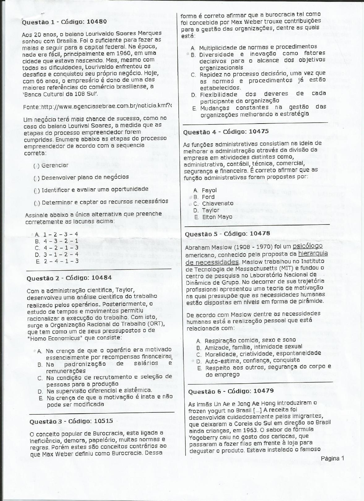 Prova Presencial Ciências Contábeis 25 04 2014 Introdução à