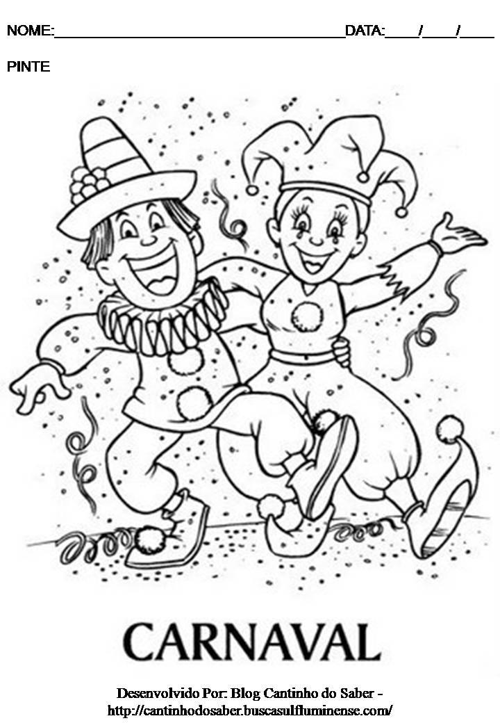 Atividade De Carnaval Para Imprimir Desenho Para Colorir E Pi