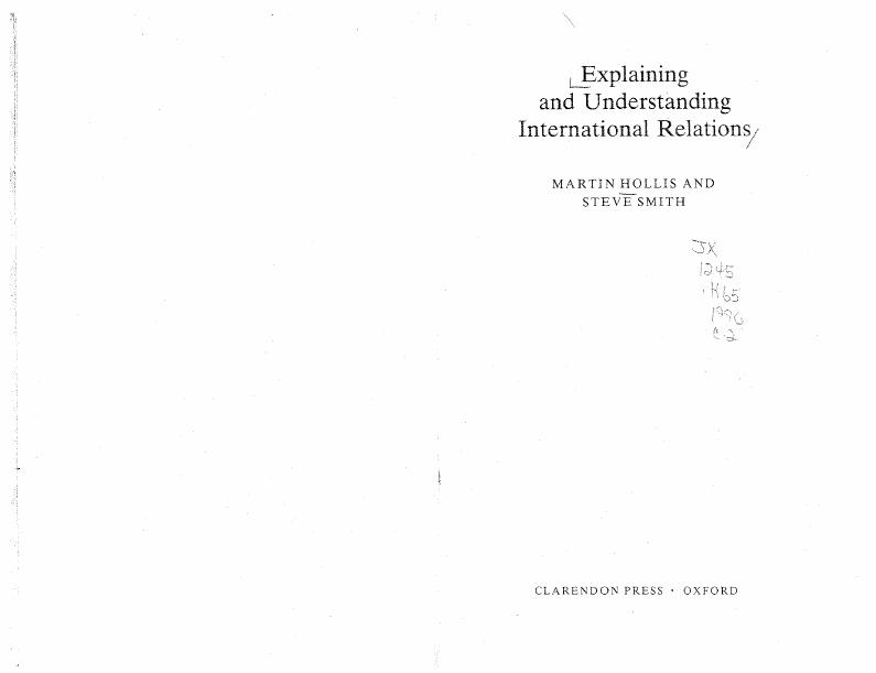 Hollis Smith - Explaining and Understanding International Rel