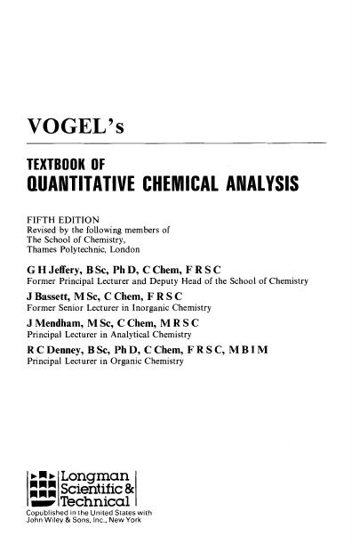 Vogels Textbook Of Quantitative Chemical Analysis 5th Edit